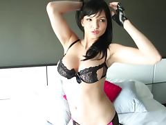Joy Glass the sizzling brunette babe poses in sexy lingerie