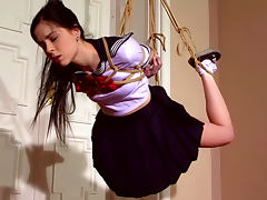 Tied schoolgirl Amber Nevada being punished