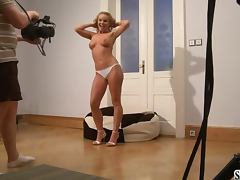 Sexy Silvia Saint undresses and fingers her pussy Behind the scenes