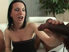 Brunette babe gets fucked in interracial gangbang video