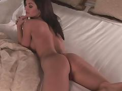 Amazingly hot Kaytee Bees shows her hot body sitting on the bed