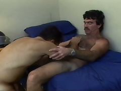 Young stud fucks an older hairy man