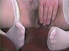 Ex plays with her Hairy Pussy until it's Dripping Wet