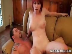 College tramp having hardcore sex on a leather couch tube porn video
