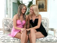 Hot Babes In Lesbian Action With Dildo Insertion