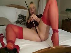 British slut Lucy G plays with a riding crop
