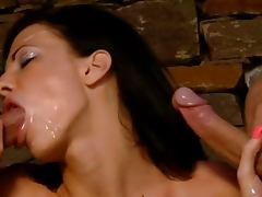 Brunette Aliz Gobbles Up Two Cocks