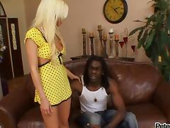 Blonde cutie Britney Amber sucks and rides a big black cock
