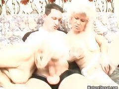 Horny grandmas in blowjob threesome