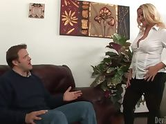 Dee Siren the busty blonde MILF in hardcore sex scene