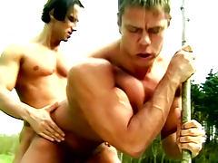 Outdoor bodybuilder fucking between Attila and Miklos