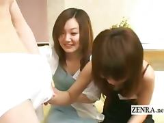 Subtitled CFNM Japanese hostesses penis exploration