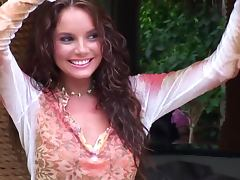 Curly haired cutie Hillary Fisher poses nude in the garden tube porn video