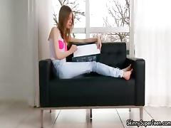 Petite skinny teen girl in jeans showing part6