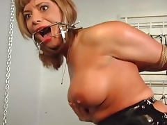 Tied blonde with big boobs is getting hardcore anal drilling