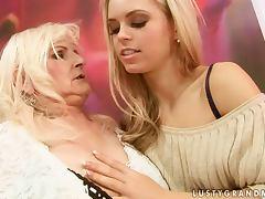 Beautiful Lesbian Teen Strapon Fucking a Horny Granny