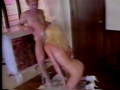 Toned whore blonde ass blasted in the living room