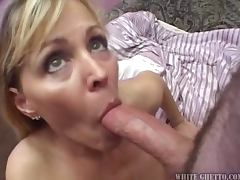 Slutty blonde MILF getting gangbanged in her house tube porn video