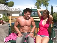 Jennifer Dark enjoys some naughty banging in a truck tube porn video