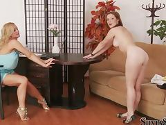 Michelle shows her body to Silvia Saint during a casting porn tube video