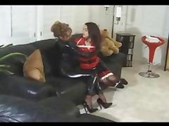 Bondage, BDSM, Bondage, Latex, Lesbian, Spanking