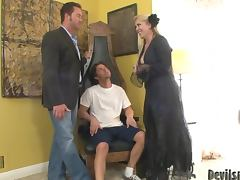 father and his son fucking hot brunette girl in the bedroom