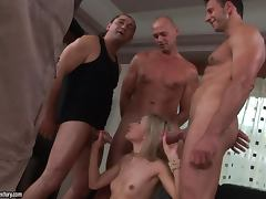 Sasha Rose gets three hard pricks to suck and ride