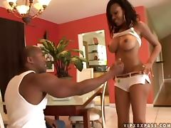 Lacey Duvalle sucks a BBC and gets her black pussy fucked every which way