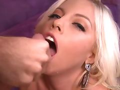 Britney Amber gives a blowjob and a titjob combo to a lucky dude tube porn video