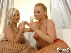 Ambra B and Silvia Saint smear each other with ice cream porn tube video