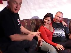 Horny latina pussy fucked by muscular stud while her husband watches with friend
