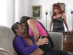 Ripped Dude Fucks A Hot Redhead Milf and Her Daughter tube porn video