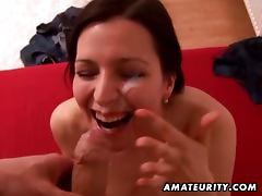 Busty amateur girlfriend sucks and fucks with facial cumshot
