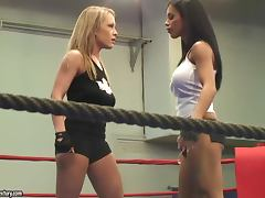 Jessica Moore and Kyra Black fight on a ring and practise face sitting porn tube video