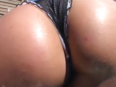 Luscious Lopez shows her ass before blowjob