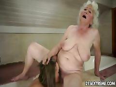 Bath, Bath, MILF, Shower, Granny Lesbian