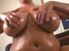 Kerry Marie Strips Oils Boobs