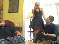 Father and son fucks sexy Molly Rae after playing chess porn tube video