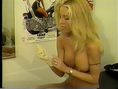 Hot young blonde with great tits loves to finger her pussy with a white glove on porn tube video