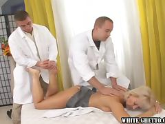 Blonde slut tries to please four horny guys and gets cum on her belly