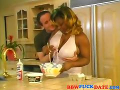 Big busty ebony get fucked in the kitchen tube porn video