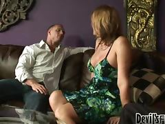 Chubby shemale Astrid Shay sucks and rides two cocks