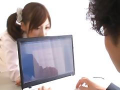 Naughty School Girl Miyuki Yokoyama Blowjobs the Teacher Behind his Desk