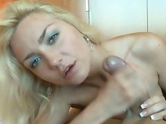 Russian babe tugs for cum