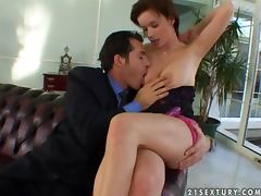 Edith gives a perfect blowjob and lets the guy fuck her tight butt