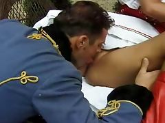 Horny redhead bitch gets fucked by two XVIII century officers
