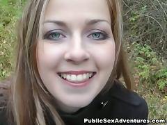 Beautiful girl's bj outdoors