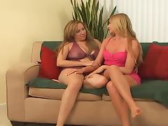 Busty milf and a horny blond slim babe get in a lesbian sex tube porn video