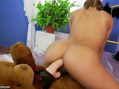 Playful Nikky Thorne having sex with a Teddy Bear