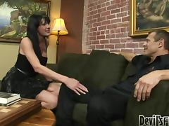 Horny brunette Transsexual Babysitter gets ass fucked brutally